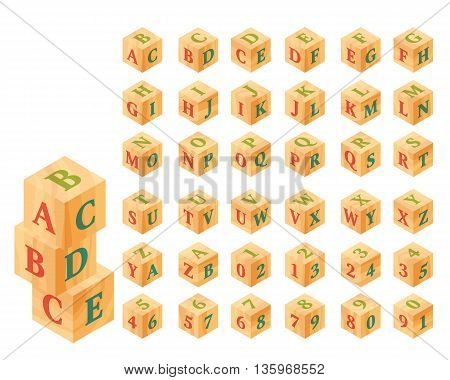 Wooden blocks with letters and numbers, alphabet. Vector set, Isometric illustration