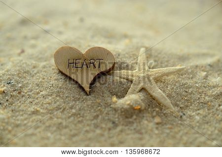 Depth of field heart text carved/engraved in heart shape piece of wood on sand beach with starfish