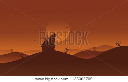 Halloween castle in hills scenery with brown backgrounds