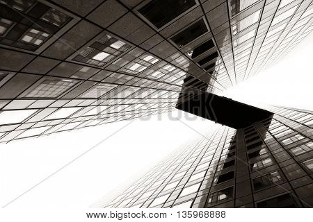 PARIS, FRANCE - MAY 13: Contemporary skyscraper in la Defense business district on May 13, 2015 in Paris. With the population of 2M, Paris is the capital and most-populous city of France.