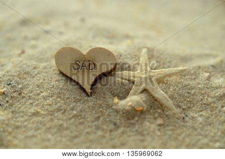 Depth of field sad text carved/engraved in heart shape piece of wood on sand beach with starfish