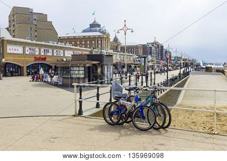 The Hague The Netherlands - June 17 2016: View of the shops near the beach and sea of Scheveningen in The Hague The Netherlands.