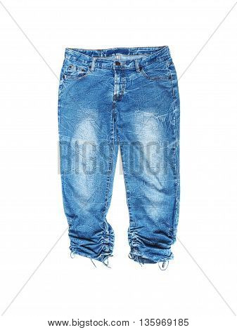 Woman blue jean isolated on white background