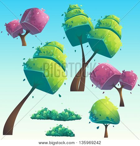 Set of isolated cartoon natural futuristic trees. Vector objects for design graphics print magazine book web games. Bright background images for create videos or web graphic design user interface card.