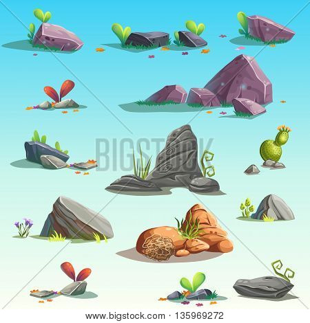 Set of isolated stones boulders. Vector isolated objects. Bright background images for print create videos or web graphic design user interface card poster.