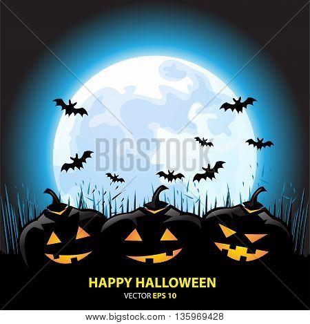 Happy Halloween full moon holiday festival background vector illustration.