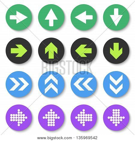 Arrow sign icon set. Flat style. Vector Eps10