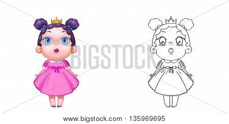 Coloring Book and Princess Girl Character Design Set 10 Adorable Baby Child Kid Young Girl Princess. Realistic Fantastic Cartoon Style Character Story Card Sticker Design