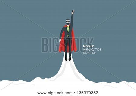 Abstract businessman flies upward like a rocket. Starup concept. Trendy modern flat vector illustration.
