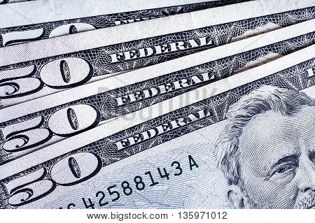 Banknotes 50 Usd Counting Stack Respectively Background, American Dollar, Financial Concept Theme