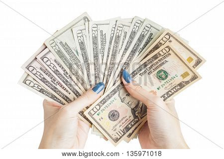 Money In The Hand, Hand With Money, Hand Holding Banknotes And Counting For Give Or Pay Bill, Can Us