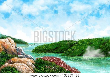 Watercolor Style Digital Artwork: The River Bay, Clean Creek, River Bend with Clear Bule Skye and White Cloud. Realistic Fantastic Cartoon Style Character, Background, Wallpaper, Story, Card Design