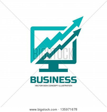 Internet business - vector logo concept illustration. Computer monitor icon. Finance growth graphic sign. Arrow symbol. Design element.