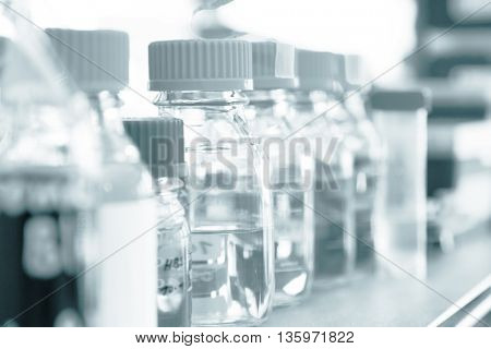 test tubes. Blue colored image