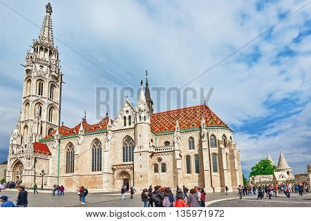 Budapest, Hungary-may 03, 2016: St. Matthias Church In Budapest. People  Is Near. One Of The Main Te