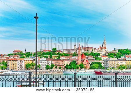 Church Of St. Matthias, Fisherman's Bastion, Calvinist Church Shore View's Of The Danube. Budapest.h