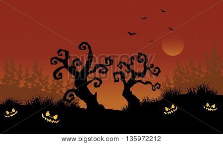 Scary halloween dry tree silhouette vector illustration