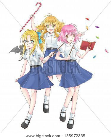 Cartoon illustration group of cute modern schoolgirl fantasy witch students in Thai high school uniform with wand in magical schoolgirl concept in isolated background in Japanese manga style