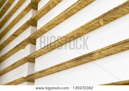 The panels for the construction of houses stacked close-up