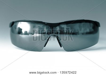 safety glasses. Science concept. Blue colored image