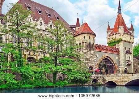 Vajdahunyad Castle (hungarian-vajdahunyad Vara) With Lake Reflection. Budapest, Hungary