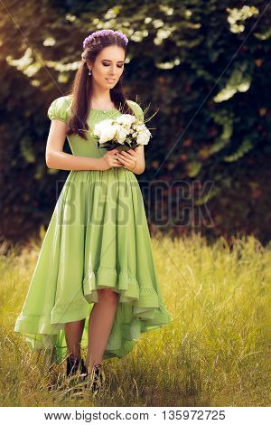 Summer Girl Holding  Flower Bouquet in Greeen Bridemaid Dress