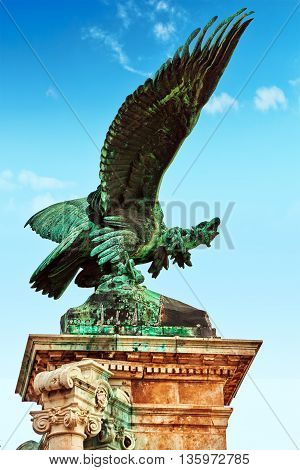 Budapest, Hungary- May 03, 2016: Eagle Sculpture Of Attila With Sword Powerful Clawed Paws Mythical