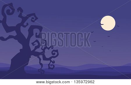 Silhouette of dry tree Halloween on purple backgrounds