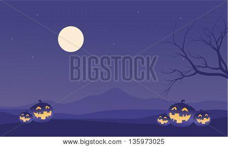 Scenery Halloween pumpkins and moon vector illustration