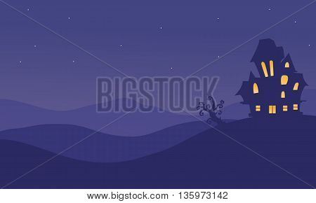 Halloeen castle scenery at night vector illustration