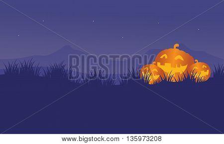 Orange Pumpkins in hills Halloween backgrounds illustration