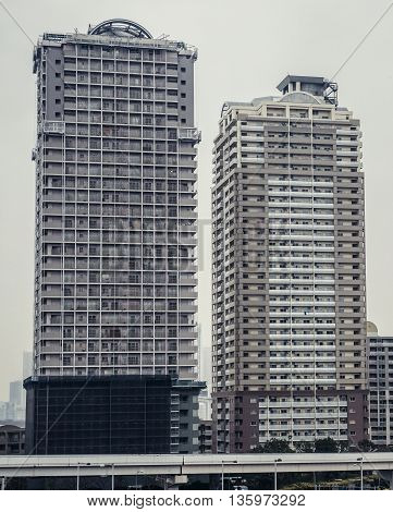 Tokyo Japan - February 26 2015: View on high-rise apartments houses in Tokyo