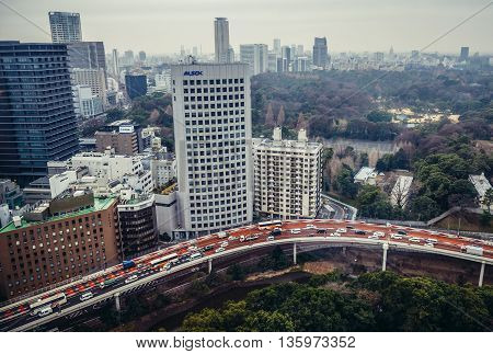 Tokyo Japan - February 26 2015: Aerial view in Tokyo with Route 4 of Shuto Expressway