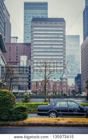 Tokyo Japan - February 26 2015: Building of Tokyo Bankers Association in Marunouchi area in Tokyo
