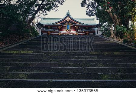 Tokyo Japan - February 27 2015: View on stairs in front of main building of Shinto Hie Shrine in Tokyo