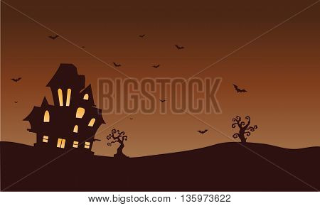 Silhouette of castle and bat Halloween illustration