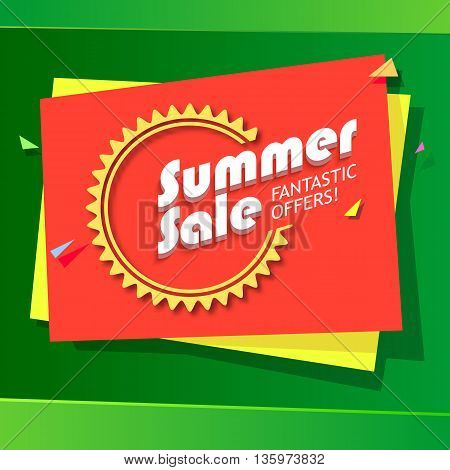 Summer sale advertisement, fantastic offers. Colorful expressive, attention-drawing banner on green background with balloons, serpentine and confetti.. Vector editable symbol, easy to change size