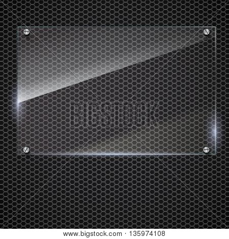 Vector glass frame with steel rivets. Glass framework. Transparent glass frame on on the metal mash background.
