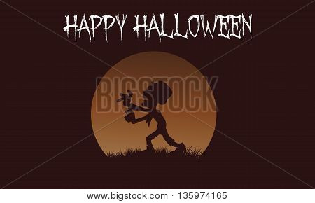 Zombie backgrounds Halloween with brown backgrounds illustration