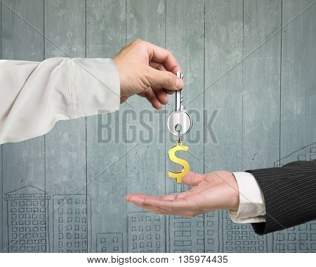 One Hand Giving Key Dollar Sign Keyring To Another Hand, 3D Illustration
