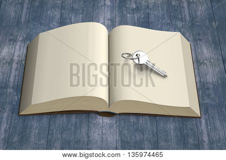 Book Opening With Key And Vintage Wood Table, 3D Rendering
