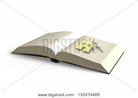 Opening Book With Key And Golden House, Knowledge Bring Wealth, 3D Rendering