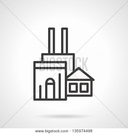 Abstract woodworking factory symbol. Industrial facilities and buildings complex. Wood production and processing. Simple black line style icon.