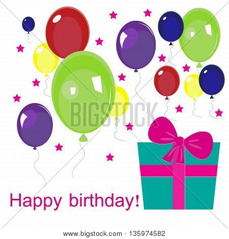 Happy Birthday text. Colorful poster design greeting card vector illustration.