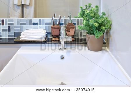 Lavatory And Accessories.with Mosaic Wall Under The Mirror