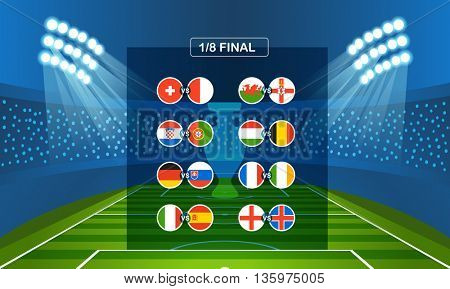 Semifinal tournament scheme. Football infographic template
