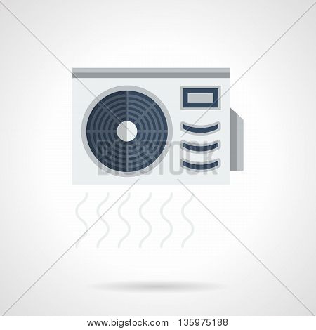 Air conditioner with compressor ventilator. Air flow sign. Climatic appliances for home and office. Outdoor unit of split system. Flat color style vector icon.