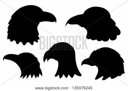 Set of Eagles silhouettes. Vector illustration Isolated on white