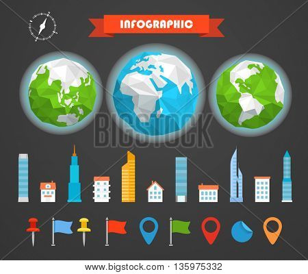 Infographic elements template. Statistic charts ratings vector clip-art. Buildings ans pins