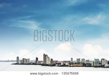 High angle view over Pattaya city with clear blue sky, landmark in east city of Thailand